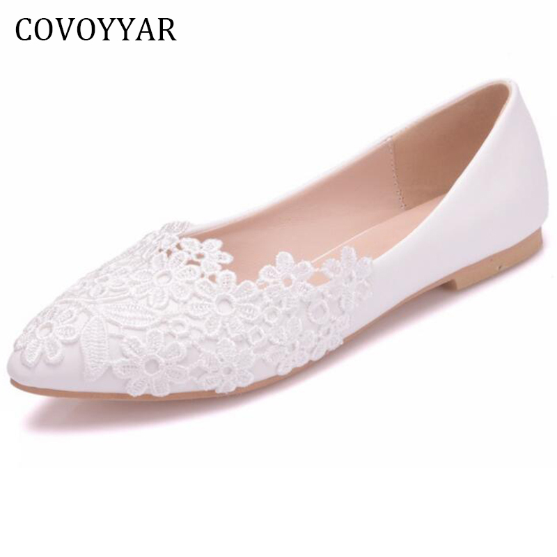 COVOYYAR White Lace Wedding Shoes Women 2019 Spring Summer Flowers Bride Shoes Pointed Toe Women Ballet Flats Slip On WFS887
