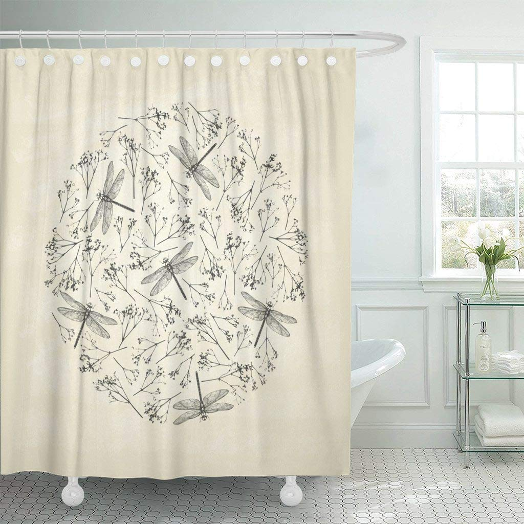 Eco Friendly Shower Curtain With Hooks Vintage Circle With