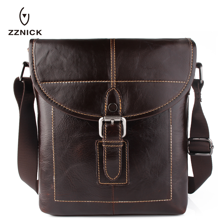 ZZNICK 2018 New Men Genuine Leather Messenger Bag Male Oil Wax Leather Crossbody Shoulder Bag First Layer Cowhide Bag Briefcase men shoulder bag genuine cowhide oil wax leather messenger crossbody bags male casual totes briefcase business top handle bag
