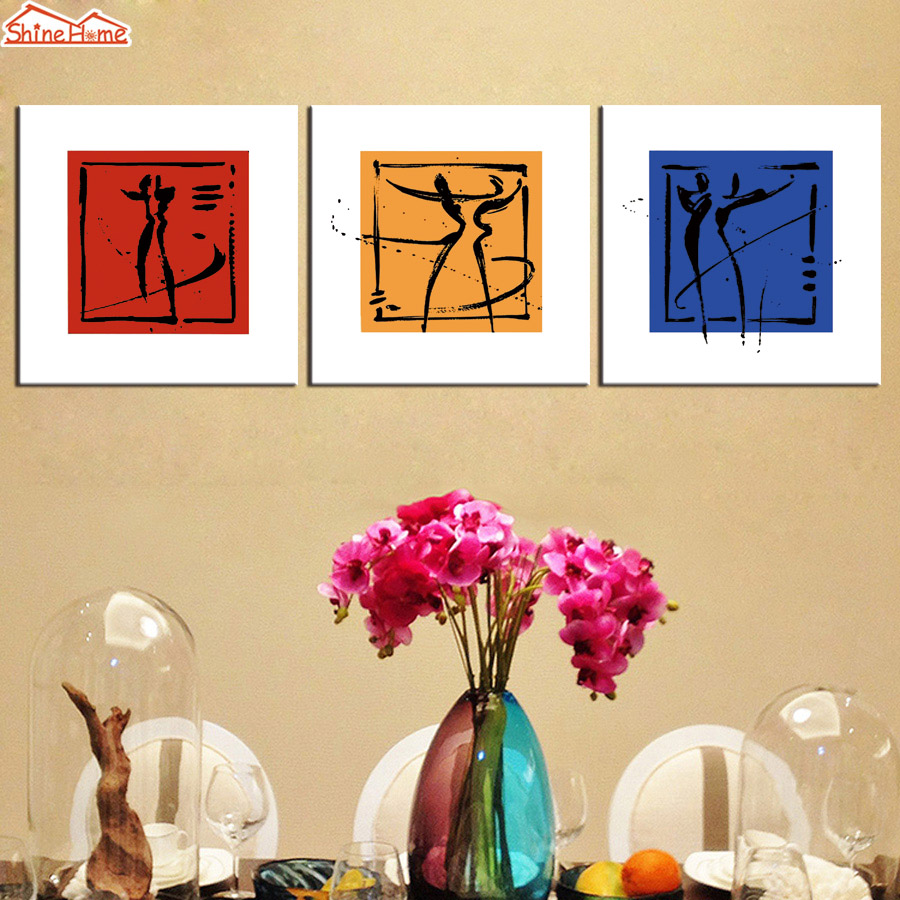 ShineHome 3pcs Wall Art Canvas Print Nordic Paintings Triptych ...