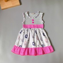2019 NEW girl baby clothing Summer elephant pattern boutique Infants toddler Kids ruffles little  princess dresses frocks
