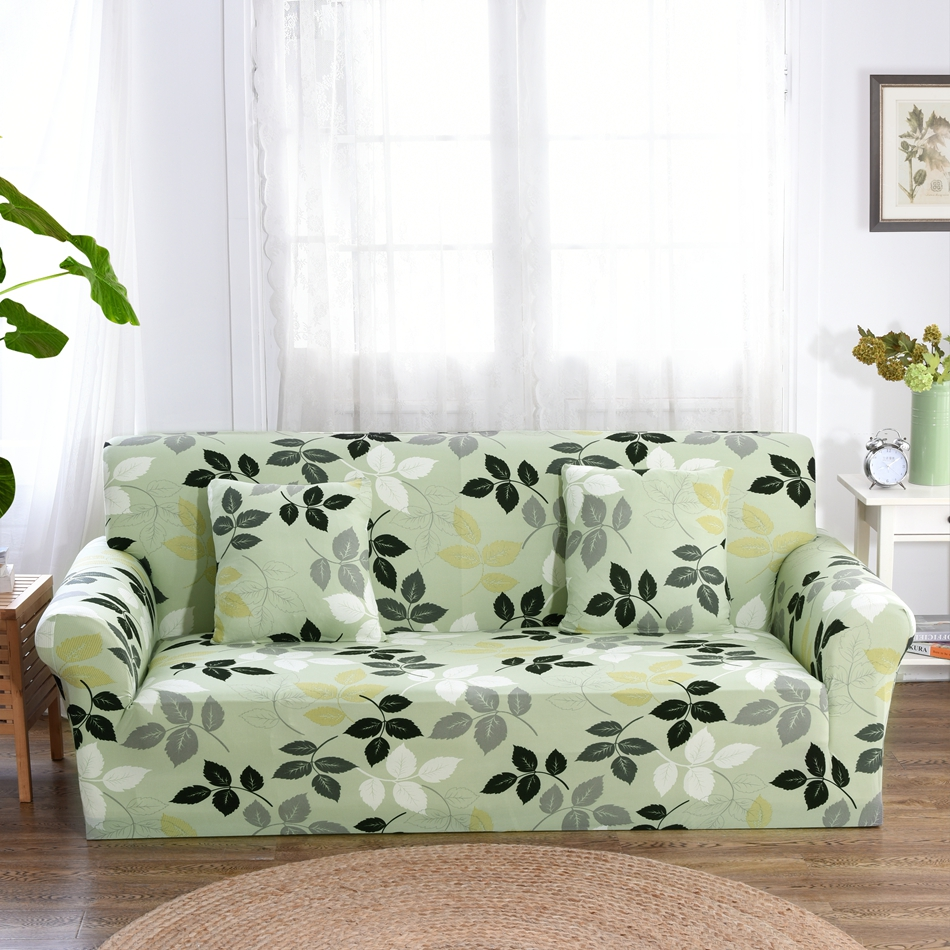 US $14.35 59% OFF|Light Green Leaves Couch Sofa Covers For Living Room  Multi Slip Corner Sofa Slipcovers Universal Stretch Cover Elastic  Slipcover-in ...