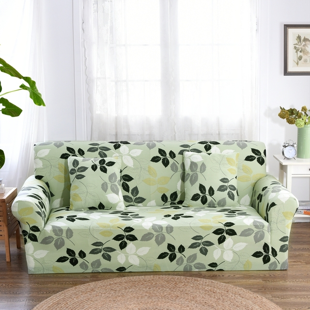 Light Green Leaves Couch Sofa Covers For Living Room Multi Slip Corner Slipcovers Universal