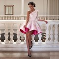 2016 New Style One Shoulder Pink Cocktail Dresses Elegant Women Short Prom Dress Ball Gown Lace Party Gowns Eve Online DSC001