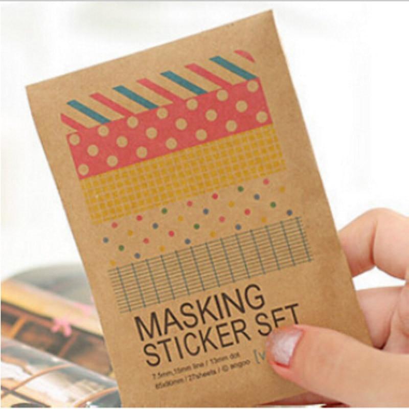 Student 27 Sheets/bag DIY Cute Kawaii Dot Sticky Paper Vintage Masking Sticker Set For Home Decoration Photo Album 5535