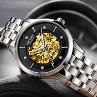 MEGIR New Automatic Mechanical Watch Top Brand Luxury Sapphire crystal Skeleton Men Watches Leather Golden Design Wristwatch