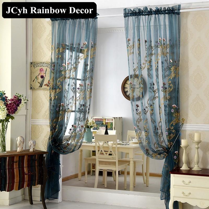Neue Luxus Europischen Tll Vorhnge Fr Wohnzimmer Bestickt Voile Schlafzimmer Fenster Elegent Blauen Schiere