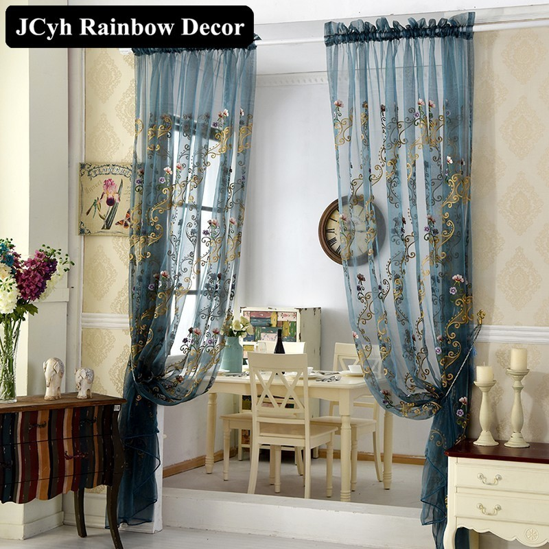 New Luxury European Tulle Curtains For Living Room Embroidered Voile Bedroom Window Elegent Blue Sheer Curtain