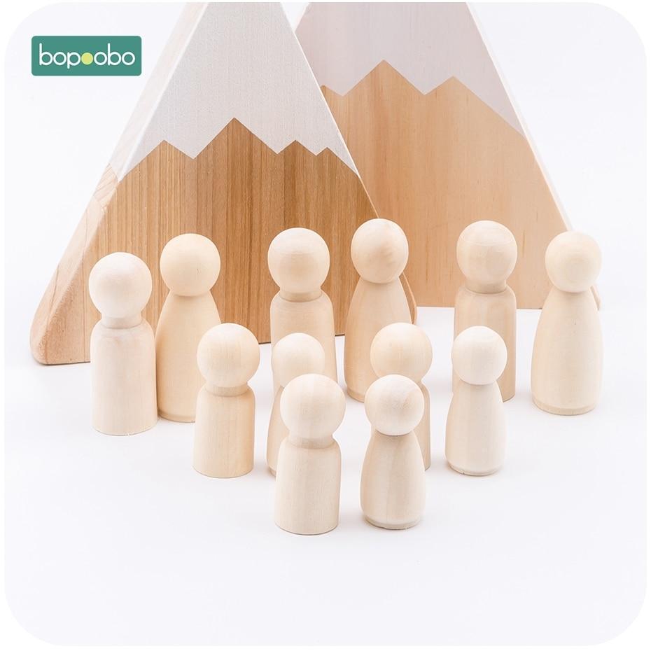 Bopoobo 20pc Unfinished Hardwood Wooden People Large Family Peg Dolls DIY Crafts Baby Toys Block