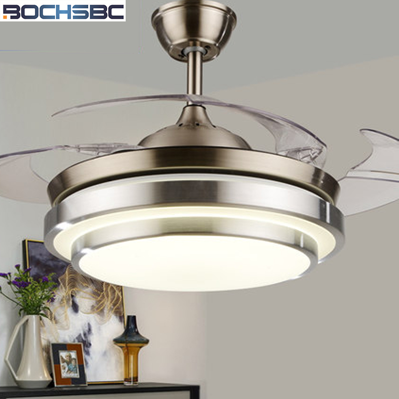 BOCHSBC Invisible Ceiling Fan Light Plastic Fan Lamp For Living Room Dining Room Bedroom Study Room Simple Modern LED Fan Lights