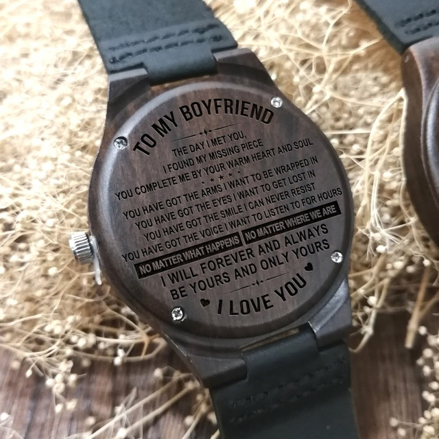 TO MY BOYFRIEND I WILL FOREVER AND ALWAYS BE YOURS AND ONLY YOURS ENGRAVED WOODEN WATCH 5