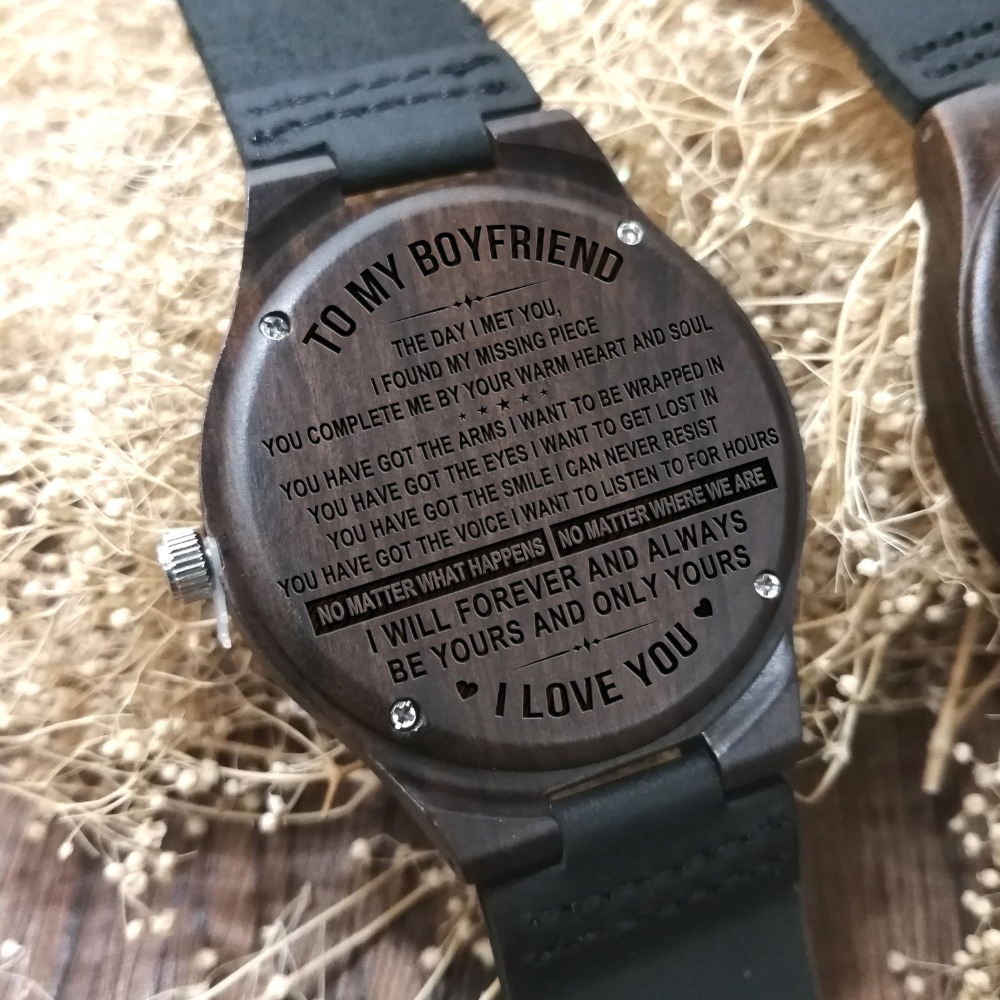 To My Boyfriend-Engraved Wooden Watch Luxury Men Watches Birthday Holiday Anniversary Military Gifts For Him Ebony Wrist Watch