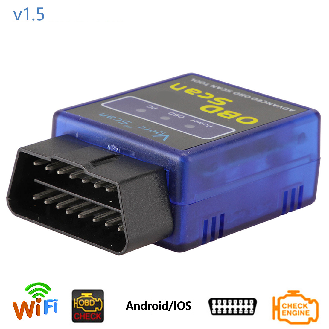 Dewtreetali OBDII V1.5 ELM 327 Интерфейс WI-FI ELM327 1.5 OBD2 сканер с PIC18F25K80 чип автомобилей коды Читатель инструмент диагностики