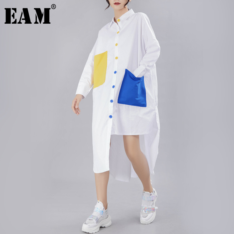 [EAM] 2020 New Spring Autumn Lapel Long Sleeve Panelled Button Pocket Split Loose Big Size Shirt Women Blouse Fashion Tide JY776