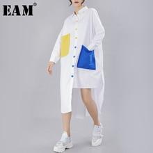 [Eam] 2020春の新作秋ラペル長袖panelledボタンポケットスプリットルーズビッグサイズのシャツの女性ブラウスファッション潮JY776