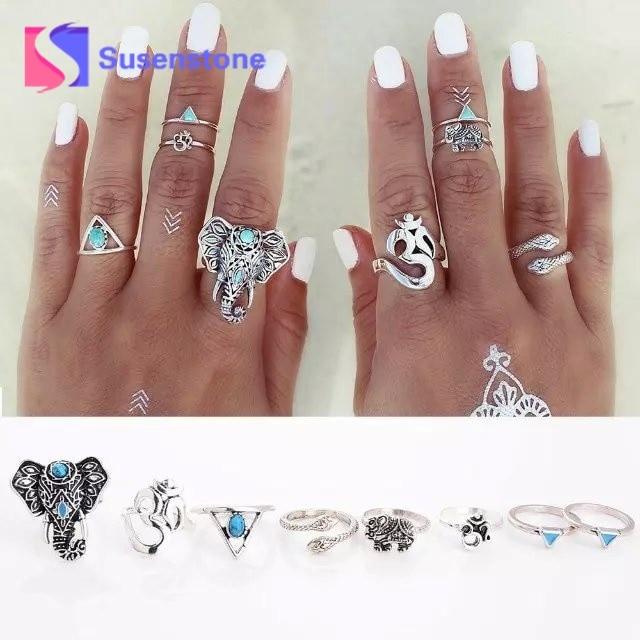 8PCS/Set Vintage Ethnic Bohemian Ring Elephant Midi Ring Set Turquois Punk Women Jewelry Geometry Rings for Women Hot Sales