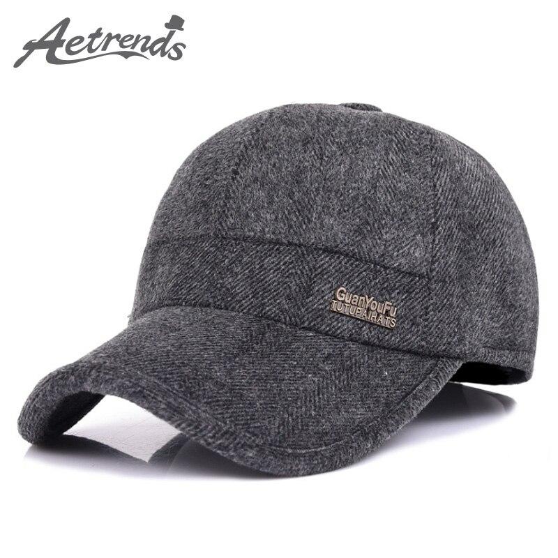 [AETRENDS] Wool Feel   Baseball     Cap   Russia Winter Hats Warm with Fleece inside and Earflaps Men's   Caps   Vintage   Baseball   Hat Z-5001