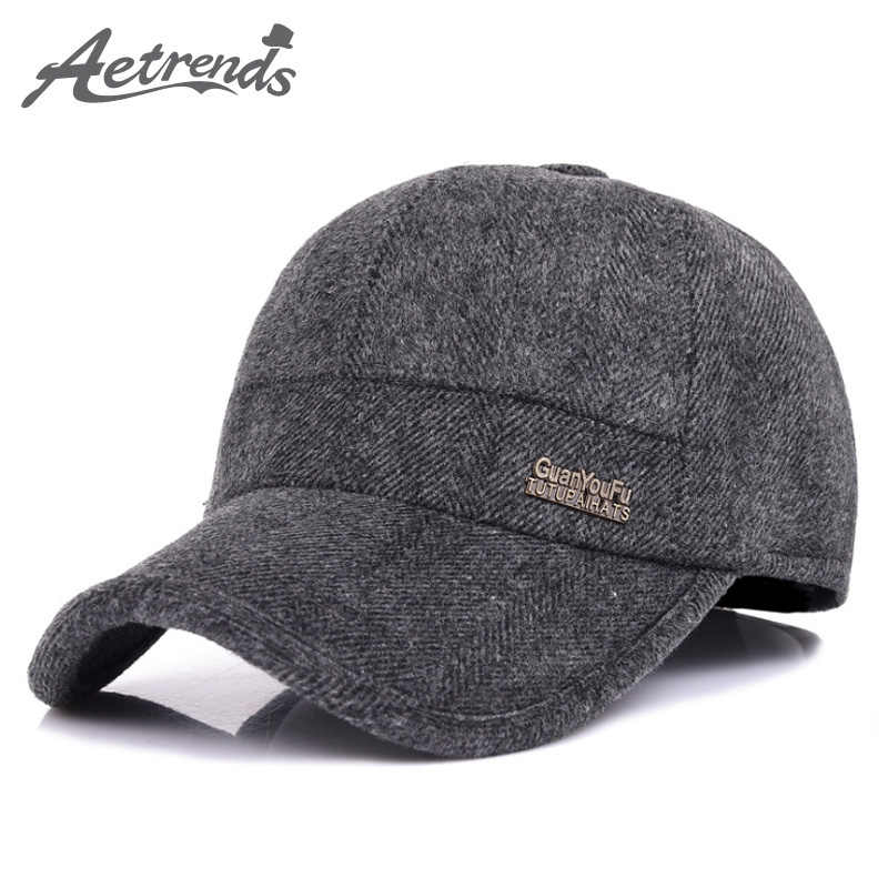 a5130e816cc  AETRENDS  Wool Feel Baseball Cap Russia Winter Hats Warm with Fleece  inside and Earflaps
