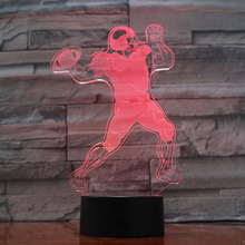 American football Quarterback QB Tom Brady Figure Usb 3d Led Night Light 7 Color Changing Boy Child Kids Gifts Desk Lamp Bedroom