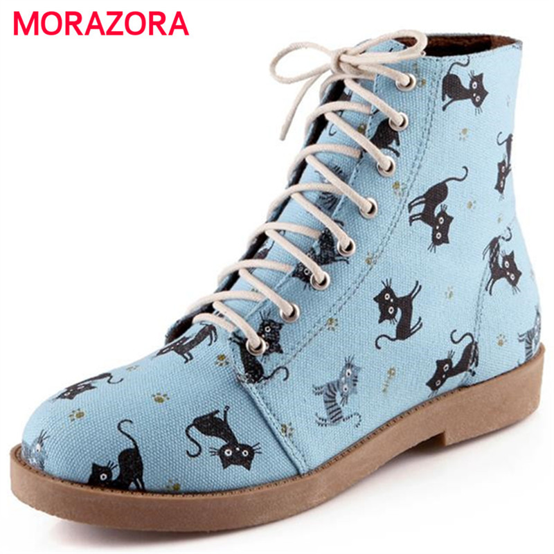 MORAZORA Cartoon animation new arrive cat lace up autumn winter women boots sweet fashion low heel
