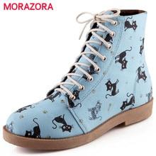 Morazora animação dos desenhos animados chegam novas cat lace up outono inverno mulheres botas doces botas de moda ankle boots de salto baixo dedo do pé redondo
