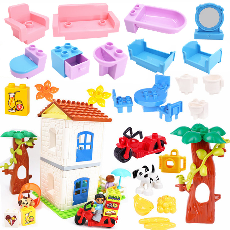 Second Floor House Furniture Building Blocks Educational Toys For Children Compatible With Duploe Parts Baby Duploed Toy Gifts