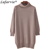 Lafarvie High Quality Autumn Winter Long Style Loose Cashmere Sweater Turtleneck Full Sleeve Knit Women Pullover