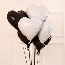 Foil balloons 5pcs/lot18 inch heart-shaped white black foil balls birthday party decorations adult baloon wedding Halloween ball
