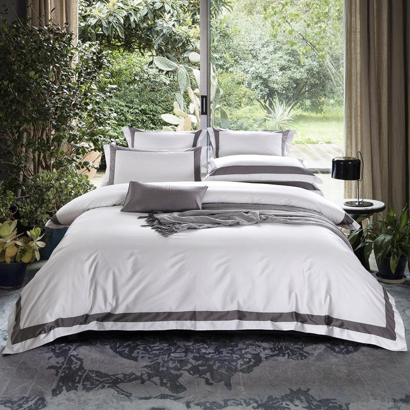 100%Cotton White Gray Bedding set Queen King size Hotel Duvet cover Bed sheet Fitted sheet Bed set ropa de cama linge de lit100%Cotton White Gray Bedding set Queen King size Hotel Duvet cover Bed sheet Fitted sheet Bed set ropa de cama linge de lit