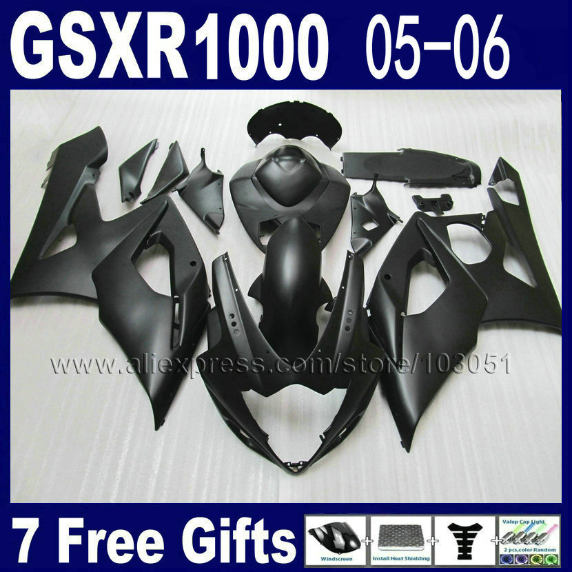 Custom Injection molding race fairing kit for K5 2005  2006 gsxr 1000 kits 05 06 all full black suzuki motorcycle fairings custom road fairing kits for suzuki glossy flat black 2006 gsxr 1000 k5 2005 gsx r1000 06 05 motorcycle fairings kit