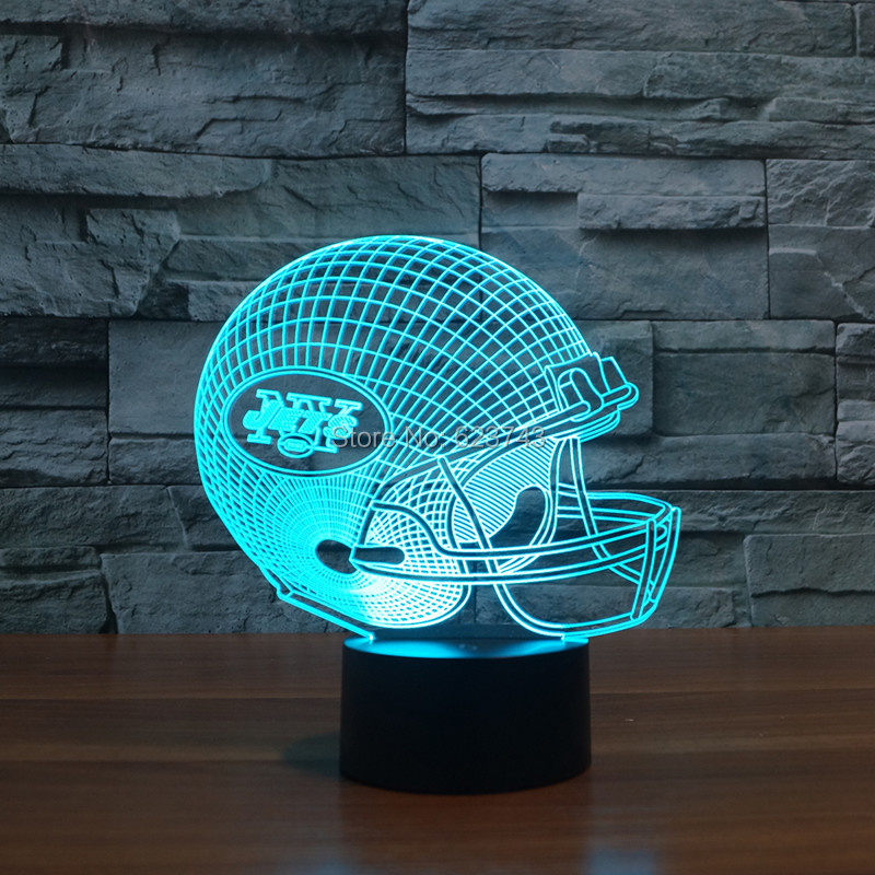 New York Jets American Football cap helmet 3D NFL LED Color Changing Decor night light by Touch induction control new york jets stainless dog bowl