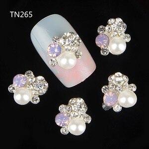 Blueness 10Pcs Gliter Pearl with Rhinestones,3D Metal Alloy Nail Art Decoration/Charms/Studs,Nails 3d Jewelry TN265(China)