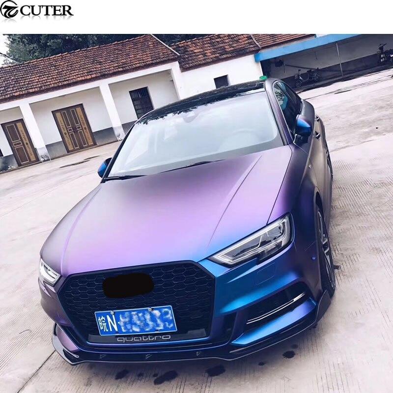 A3 S3 RS3 Carbon fiber Front Bumper lip Auto front Spoiler For Audi A3 S3 RS3 Sportback  ...