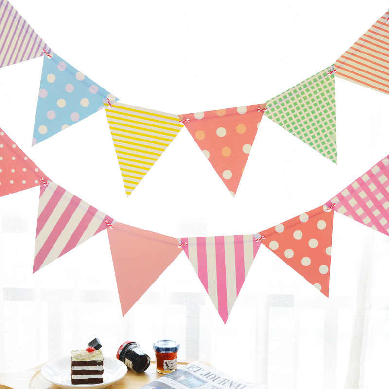 Paper Flags Banner Bunting Pennant Wedding Baby Shower Birthday Party Home Decor