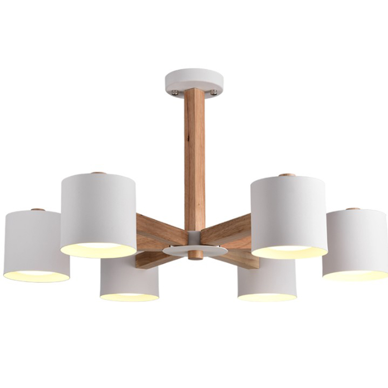 Nordic Modern Creative Ceiling Chandelier 3/6/8 Heads Lights Living Room E27 Chandeliers Lighting White/Black Solid Wood Craft modern fashion large spider braided chandeliers white black fabric shades diy 10 heads clusters of hanging ceiling lamp lighting