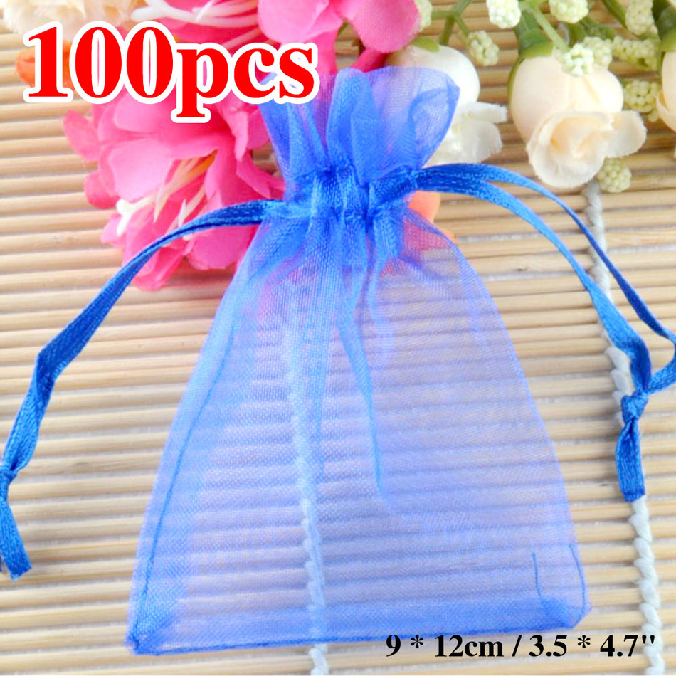 Sale 100pcs Blue Organza Bag 12x9cm Small Jewelry Boutique Gift ...