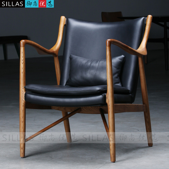 Wood Armchair Leather Lounge Chair European Designer Furniture Imported Northern Europe And Denmark Cafe