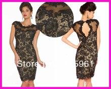 Vintage Black Cap Sleeve Short Lace Mother of the Bride Cocktail Dresses Knee Length E3342