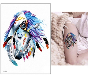 21*15cm new Waterproof Temporary Tattoo Sticker wolf tiger animals pattern tattoo Water Transfer body art fake tattoo women men 4