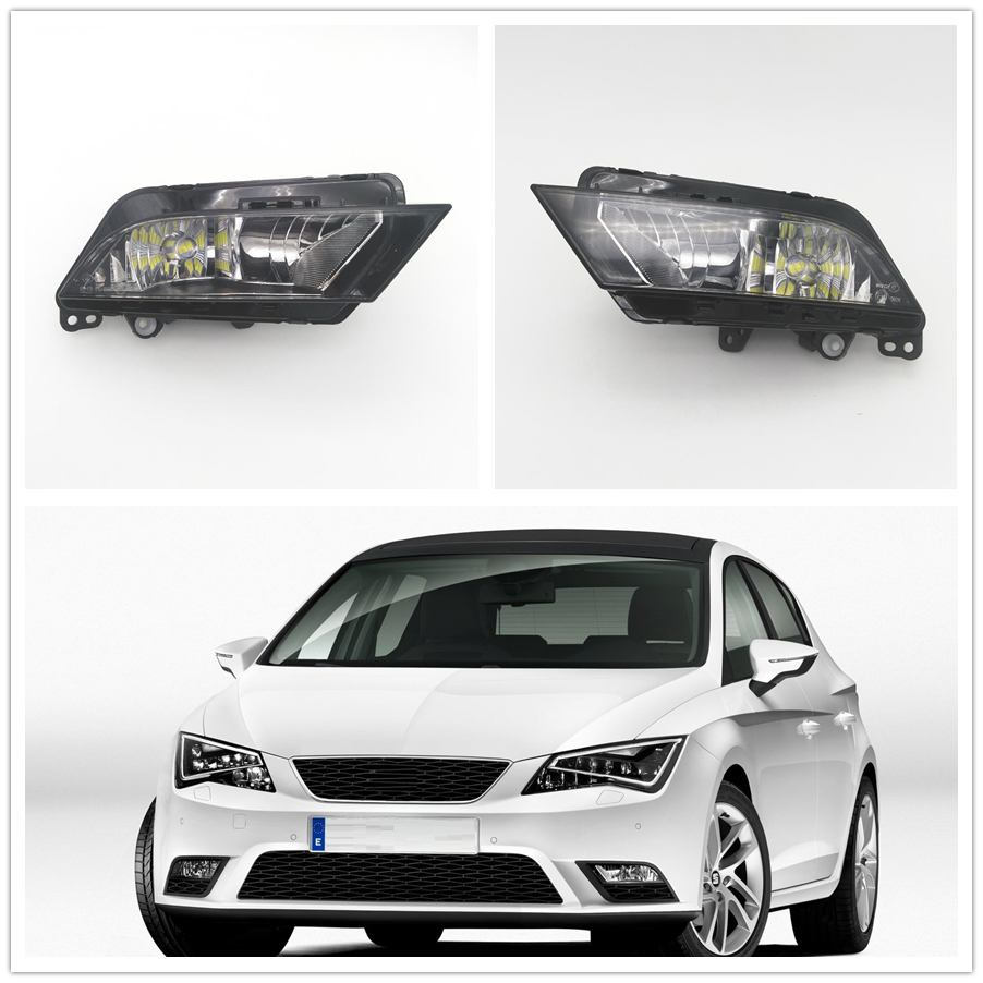 2pcs LED Fog Lamp For Seat Leon 2013 2014 2015 2016 2017 Car-styling Front Bumper LED Fog Light Fog Lamp for opel astra h gtc 2005 15 h11 wiring harness sockets wire connector switch 2 fog lights drl front bumper 5d lens led lamp