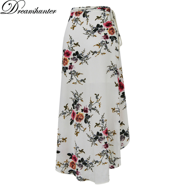 d06643918 Flower Print Summer Long Skirt Women Vestido Side Split Beach Wear Cover up  Boho Saia Party Sexy Falda Maxi Skirt Casual Pareo