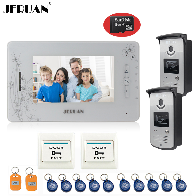 JERUAN 7 inch  video door phone intercom system access control system 1 montior 2 camera video recording photo taking+8GB Card 300m wireless 7 inch video door phone wireless intercom system access control
