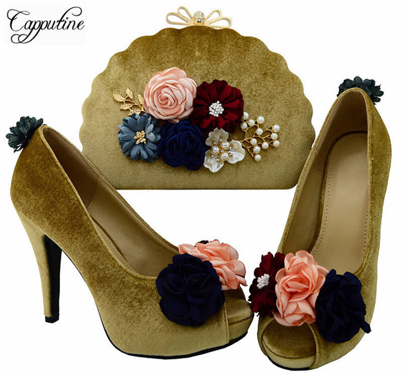 Capputine 2018 Hot Sale Elegant Woman Gold Color Shoes With Bag Set African Style High Heels Shoes And Bag Set For Party BL0024 capputine hot sale summer ladies shoes and bag set african style high heels shoes and bag set for wedding party tys17 91