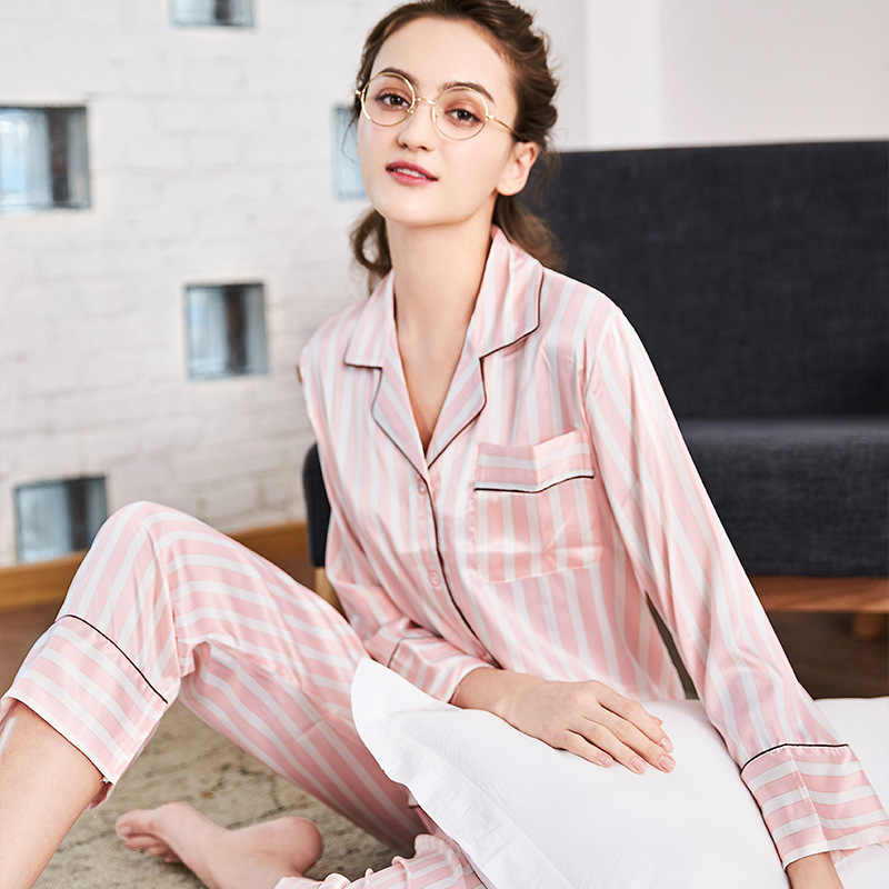 SSH0111 New Spring Autumn 2 pieces Sets Pajamas for Women Striped Sleepwear  Home Clothing Suits Satin 435353759