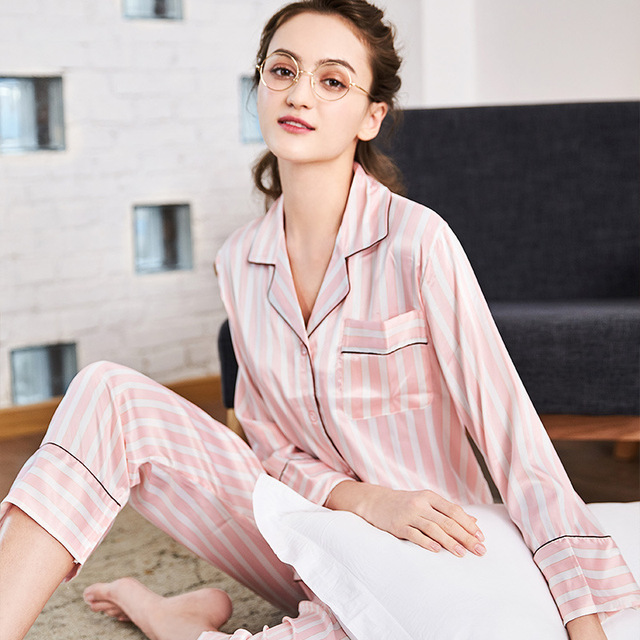 9eae14b1ae SSH0111 New Spring Autumn 2 pieces Sets Pajamas for Women Striped Sleepwear  Home Clothing Suits Satin Silk Nightwear Sexy Pyjama