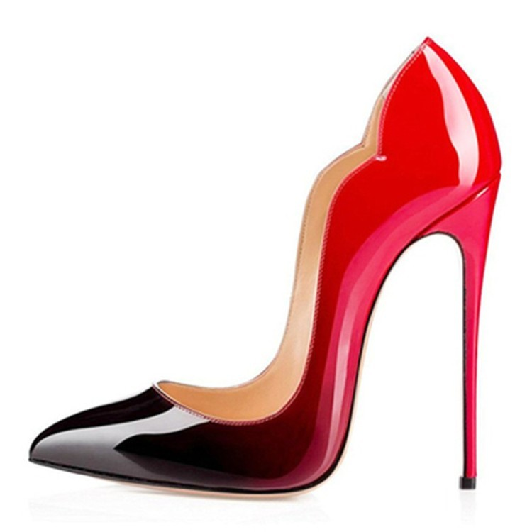 Woman black/nude/red pointed toe thin high heel pumps Ladies shallow super high heel shoes 12cm Dress shoes SIZE 36-42 shoes woman pumps thin high heel 12cm shallow slip on wedding shoes patent leather pointed toe printing fashion sexy size 11 fsj