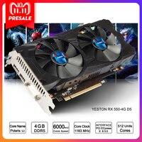 Yeston Radeon RX 550 GPU 4 ГБ GDDR5 128bit игровой настольный компьютер PC Видео видеокарты Поддержка DVI/HDMI