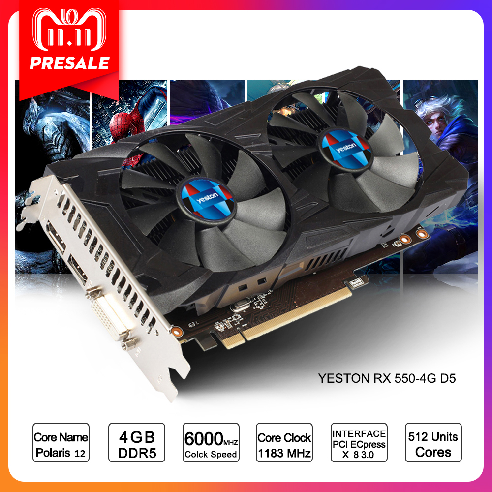 цена на Yeston Radeon RX 550 GPU 4GB GDDR5 128bit Gaming Desktop computer PC Video Graphics Cards support DVI/HDMI