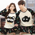 2016 Spring Autumn Winter 100% Cotton Couple Pijamas Sets of Sleepcoat & Trousers Lover Sleepwear Men & Lady Casual Home Clothes