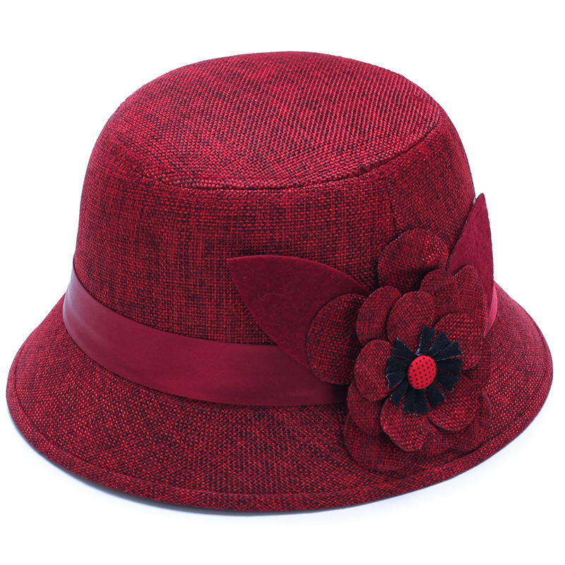 Newest  Casual Ladies Linen Breathable Sunshade Large Flower Princess Multi Color Flat Top Sun Hats Womens Summer Caps